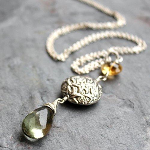 (Pendant Gemstone Necklace Green Amethyst Prasiolite Citrine Sterling Silver Elegant Statement)