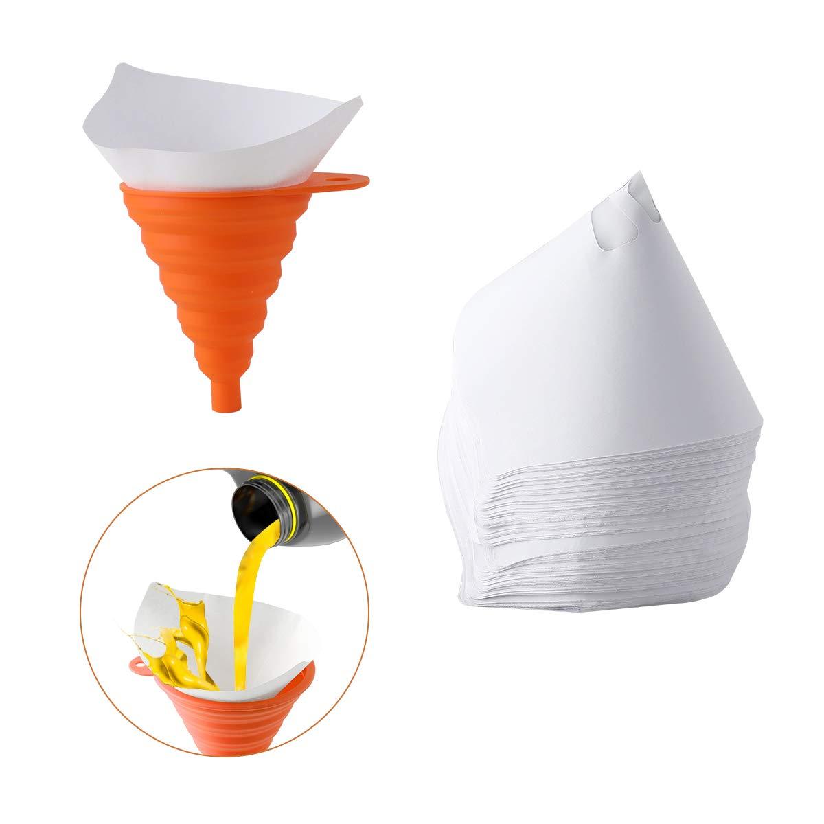 filtres de peinture jetables pour filtre de peinture en maille de nylon 100Pcs avec 1 entonnoir pliant en silicone Entonnoir pliant Filtres de peinture AIEVE Orange
