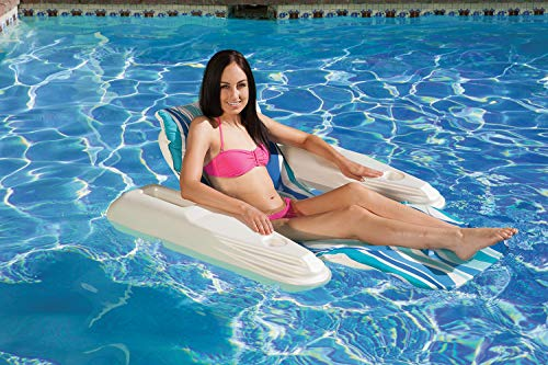(Poolmaster Swimming Pool Adjustable Floating Chaise Lounge, Rio Sun, Blue Currents)