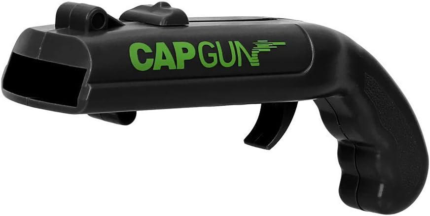 Abridor de Botellas, abrelatas con Tapa de Resorte, Lanzador de catapultas, Forma de Pistola Creativa, Herramienta de Apertura de Bebidas(Negro)