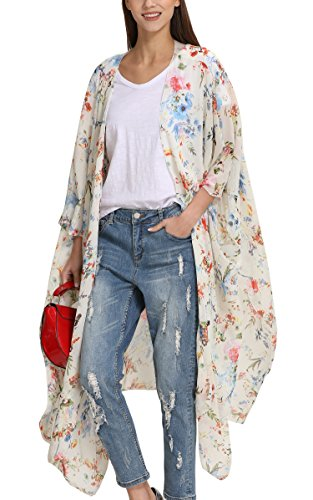 Top Kimono Floral (Hibluco Women's Casual Oversized Floral Kimono Cardigan Sheer Tops Loose Blouse)