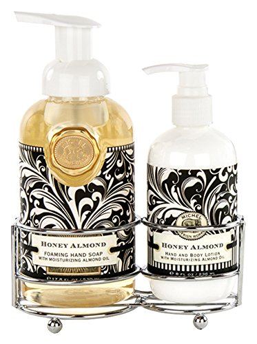 Hand Care Caddy - Michel Design Works Foaming Hand Soap and Lotion Caddy Gift Set, Honey Almond