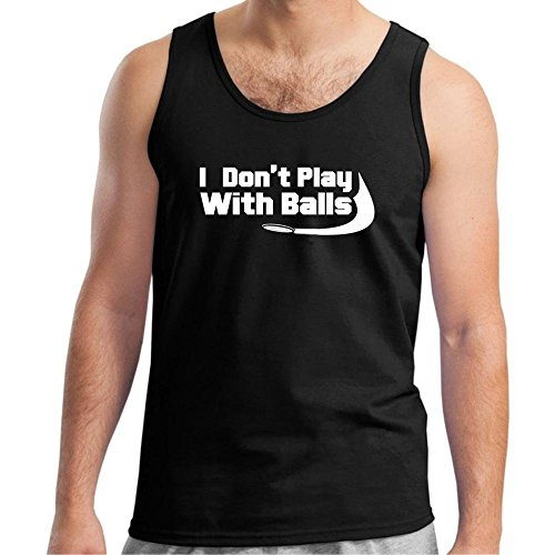 Loo Show Mens I Don't Play with Balls, Funny Disc Golf Tank Top (Do Ball Golf Top)