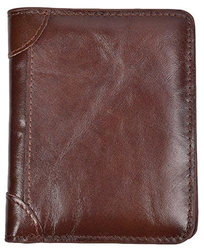 Mens Vintage Bifold Wallet RFID Blocking Slim Genuine Leather Wallet Handmade (Coffee)