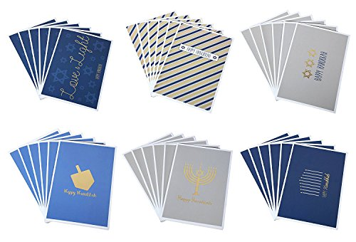 Hanukkah Greeting Cards/Jewish Chanukah Cards - 6 Gold Foil Designs: Menorah, Star of David, Dreidel - Bulk Box Set - Blank on Inside - Includes 36 Cards & Envelopes - 4