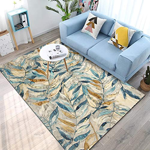 - COSY-L Modern Area Rug for Living Room, Watercolor Abstract Leaves for Bedroom Kitchen Door Mat Living Bathroom Carpet,A,160230cm