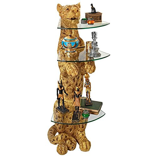 - Design Toscano KY1872 Royal Egyptian Cheetah Glass-Shelved Sculptural Table