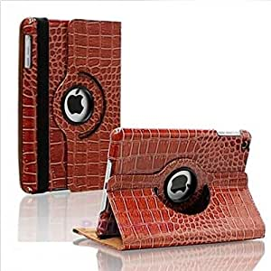 360 Rotating PU Leather Case Cover W/Stand Crocodile Brown for ipad 2/3/4