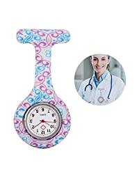 Fashion Floral Silicone Nurse Doctor Clip-on Tunic Brooch Fob Pin Quartz Pendant Pocket Watch #15