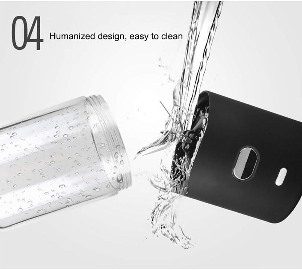 Rwen Bottiglia Blender, USB Succo di Viaggio Ricaricabile Miscelatore, Food Processor Sei Pale in 3D per Superb Miscelazione, per Frutta, Frappè E Alimenti per Bambini, 500Ml Black