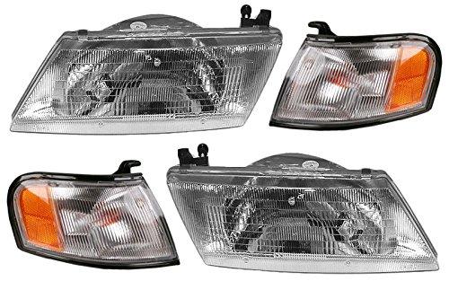 Headlights Headlamps & Parking Turn Corner Light Lamp Set Kit for Sentra -