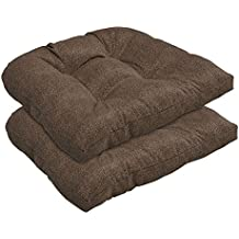 Bossima Indoor/Outdoor Coffee/Brown Wicker Seat Cushions, set of 2,Spring/Summer Seasonal Replacement Cushions