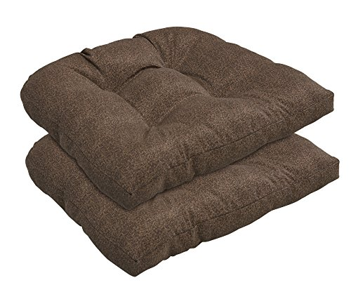 BOSSIMA Indoor/Outdoor Wicker Seat Cushion, Set of 2,Spring/Summer Seasonal Replacement Cushions (Brown)