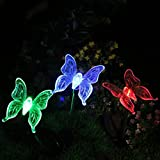 Highpot 3 Pack Solar Garden LED Lights Butterfly, Dragonfly, Hummingbird Outdoor Garden Decorative Stake Lights Multi-color Changing Night Lights (Butterfly)
