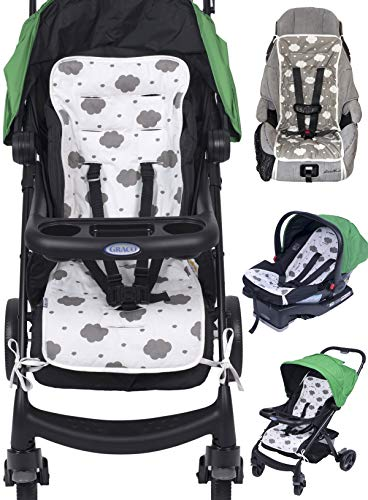 (Reversible Pure Cotton Universal Baby Seat Liner for Stroller, Car Seat, Jogger, Bouncer | Thick Cushion | Supports Newborns, Infants, and Toddlers | Quick and Easy Install)
