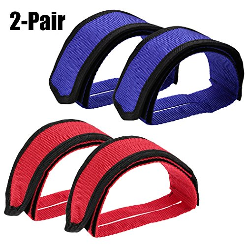 , Adjustable Bike Foot Pedal Straps Nylon Bicycle Toe Clips Straps for Fixed Gear Exercise Bike Adult 2 Pairs ()