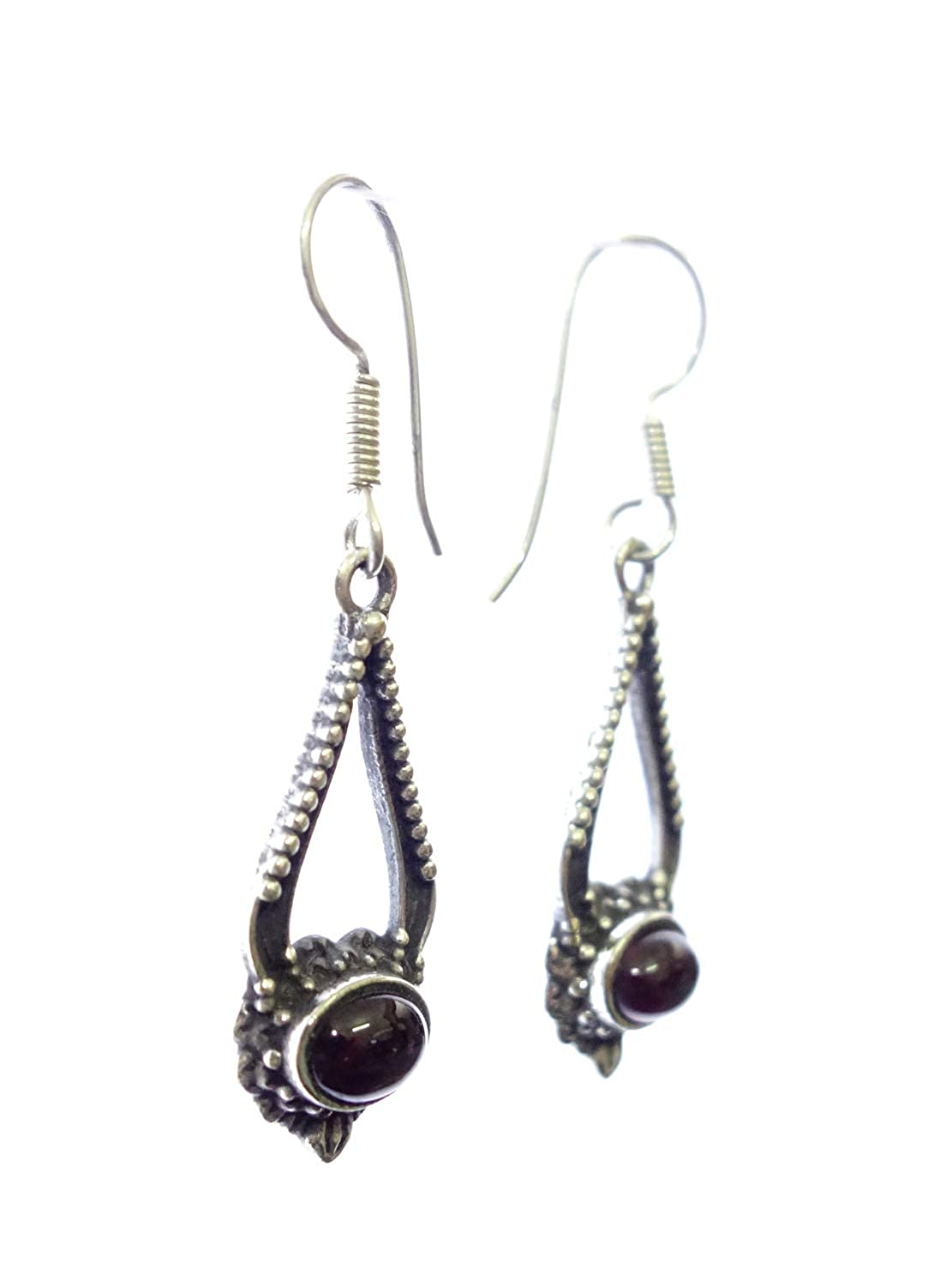 TIBETAN SILVER GARNET GEMSTONE TINY SMALL BABY DANGLE EARRINGS FOR WOMEN AND YOUNG GIRLS FINE ENGRAVED SILVER PLATED EARRINGS UNIQUE DESIGNER FASHION EARRINGS BY ARTISAN