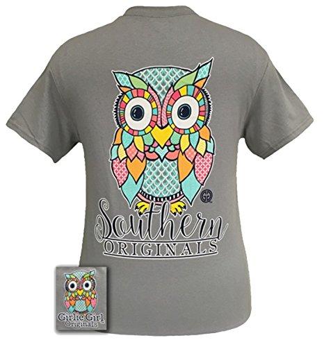 Girlie Girl Originals Preppy Owl Short Sleeve T-shirt-Gravel-large