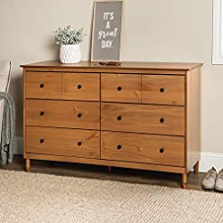 Bedroom Walker Edison Wood Dresser Bedroom Storage Drawer Organizer Closet Hallway, 6, Caramel Brown