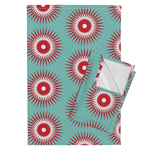 Roostery Holiday Christmas Ornament Starburst Modern Blue Red Tea Towels Holiday Starburst Red + Blue by Fable Design Set of 2 Linen Cotton Tea - Ornament Blue Starburst