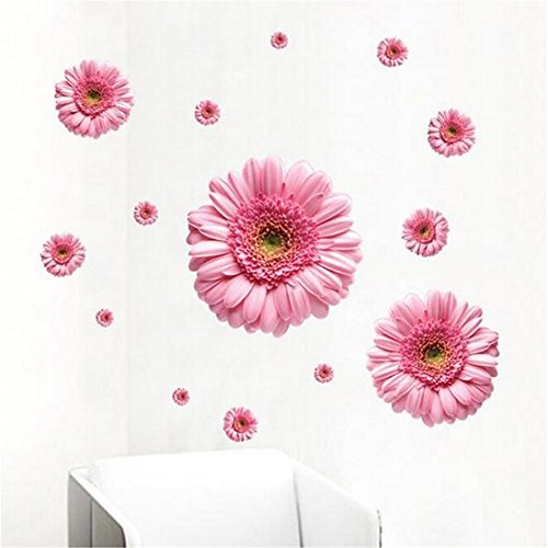 Sunflower Wall Decals Yellow Pink Daisy Flowers Wall Stickers Peel and Stick Removable Wall Art Home Decor Kids Nursery Stickers (Pink)