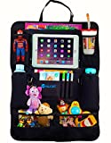 Car Seat Organizer for Kids - New Elongated Model with iPad Tablet Pocket & Bottle Holders, Keeps Children Occupied & Organized During Rides