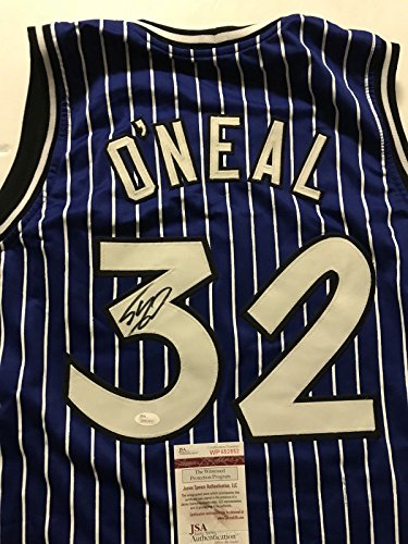 1f76bfd34 Autographed Signed Shaquille Shaq O Neal Orlando Blue Pinstripe Basketball  Jersey JSA COA