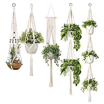 5-Pack Macrame Plant Hangers, Different Tiers, Handmade Cotton Rope Hanging Planters Set Flower Pots Holder Stand: Home & Kitchen