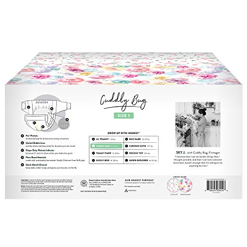The Honest Company - Super Club Box, Clean Conscious Diapers, Rose Blossom + Tutu Cute, Size 1, 160 Count (Packaging May Vary)