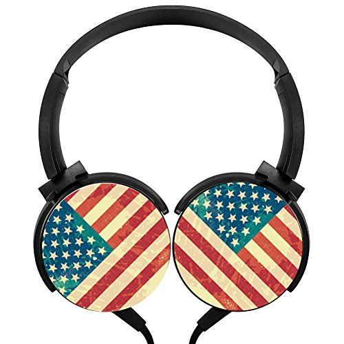 America Flag Wired Headphones Costume Foldable Over Ear Headphones Headsets for Kids or (National Costume Usa Children)