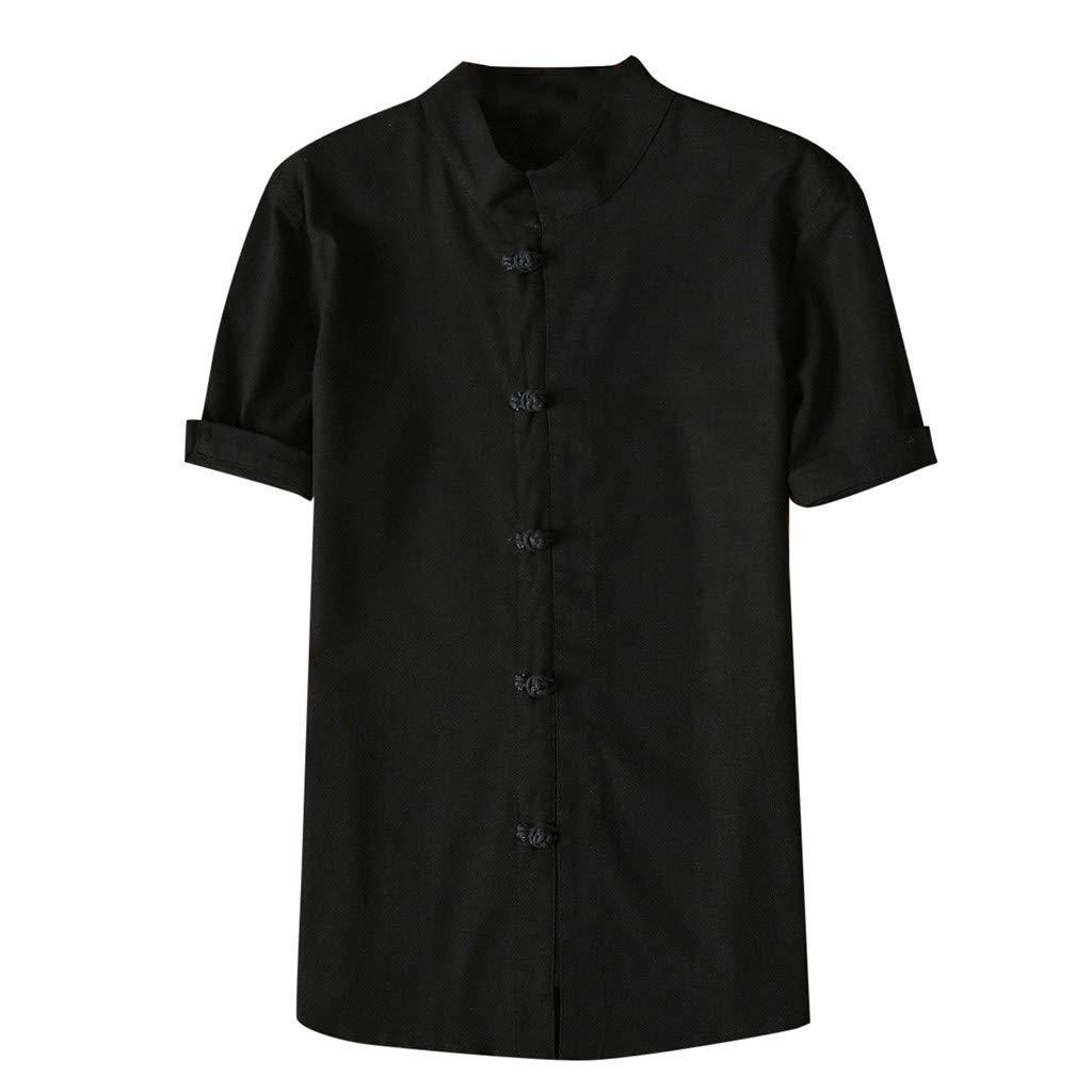 Shirt for Men, F_Gotal Men's T-Shirts Fashion Summer Short Sleeve Retro Chinese Style Linen Sport Tees Blouse Tops Black