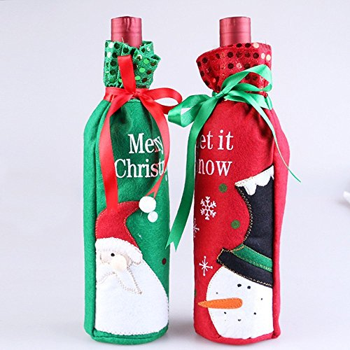 Santa Claus Wine Bottle - Idealgo pack of 2/one pair snowman and Santa Claus Wine Bottle Cover Bag for Table Decorations Gift Bag Christmas Wine Bottle Bag Christmas Hostess Decoration Wine Bottle Cover Christmas Gift