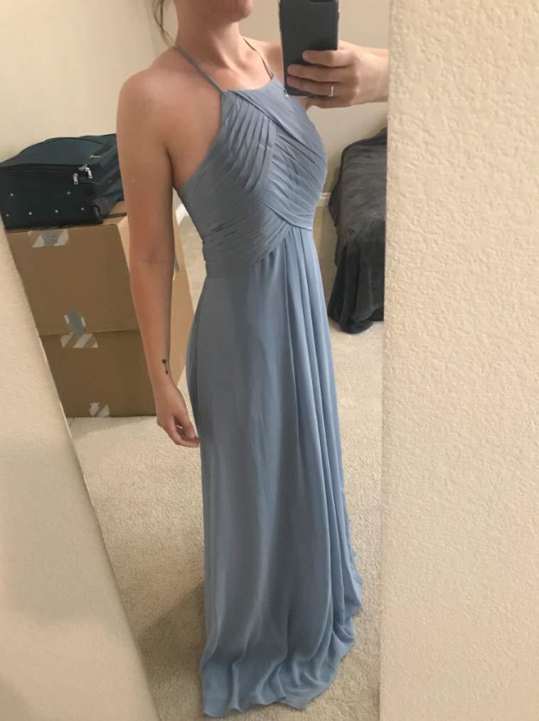 Halter Bridesmaid Maxi Dresses Long Chiffon Formal Evening Party Cocktail Dress
