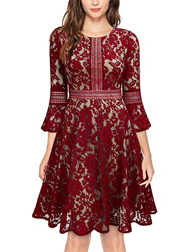 MISSMAY Women's Vintage Full Lace Contrast Bell Sleeve Big Swing A-Line Dress, Small, Red