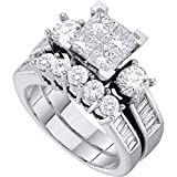 Diamond Princess Engagement Ring & Wedding Band Set Solid 14k White Gold Bridal Illusion Style 2.00 ctw