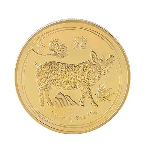 g Pig Year Commemorative Coin Offers Money Coins New Year Gift Gold Plated Good Fortune Home Car Decoration Golden ()