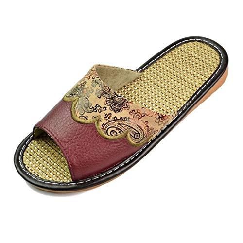 Été Marron En Chaussures Lin Automne Chaussons Cuir Véritable Intérieur Tongs Sandales Plat Maison Femmes rxrqwR1a