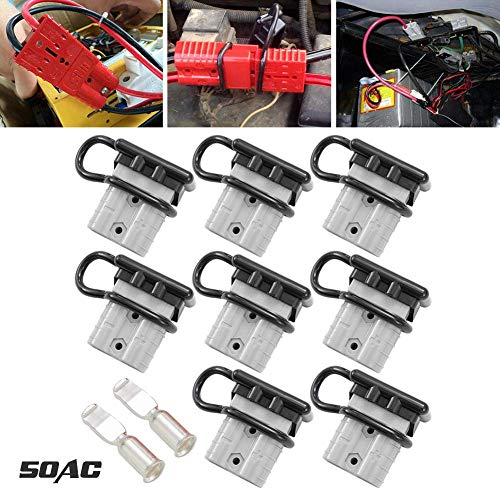 LITE-WAY 6-10 Gauge Battery Quick Disconnect/Connector Kit - 50A 8pcs Quick Connect/Disconnect Wire Harness Plug for Recovery Winch Trailer Driver Electrical Devices
