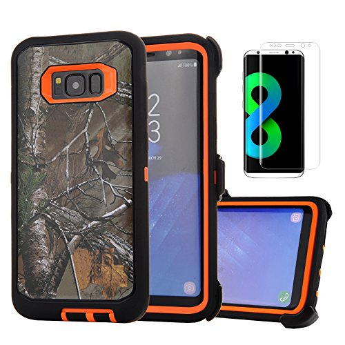 Harsel Defender Series Heavy Duty Tree Camouflage Impact Rugged Shockproof Protective Military Protective Case Cover with Belt Clip for Galaxy S8 for Men Women + Screen Protector (Xtra Orange)