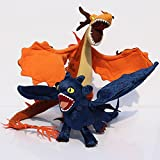 How to Train Your Dragon Night Fury Toothless Nightmare Stuffed Anime Doll Animal Plush Gifts Toy 2pcs/set