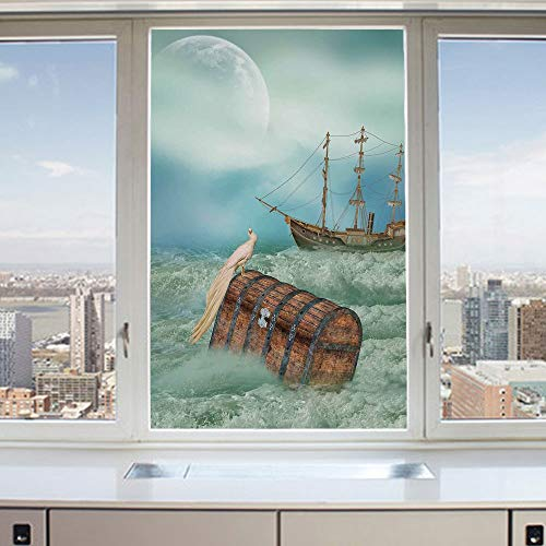3D Decorative Privacy Window Films,Antique Old Trunk in Ocean Waves with Magic Bird Pirate Boat Picture,No-Glue Self Static Cling Glass Film for Home Bedroom Bathroom Kitchen Office 17.5x36 Inch