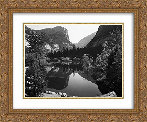 (Ansel Adams 2X Matted 24x20 Gold Ornate Framed Art Print 'Mirror Lake, Morning, Yosemite National Park')