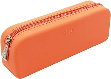Miniso - Estuche de silicona para lápices y lápices, color naranja: Amazon.es: Juguetes y juegos