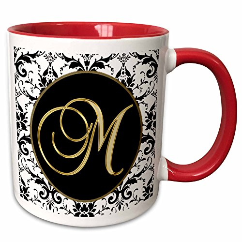 3dRose mug_256277_5 Image of the Script Letter M in Black White and Gold Ceramic, 11oz, Red/White