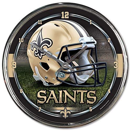 (New Orleans Saints Round Chrome Wall Clock)