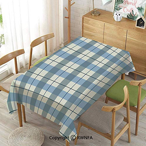 Homenon 100% Polyester Tablecloths for Rectangle Tables,Checkered,Waterproof Stain-Resistant,Slate Blue Light Blue White,55