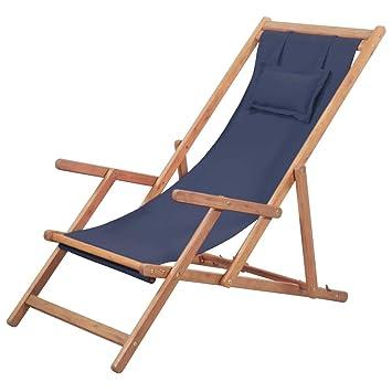vidaXL Silla de Playa Plegable Tela Azul Piscina Patio Terraza Exterior Verano
