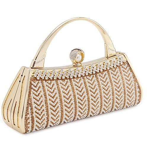 (Womans Evening Clutch Bag Wedding Purse Bridal Prom Handbag Party Bags Metal Frame Hard Case With Rhinestones and Artifical Pearls Decor (Gold 2))