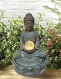 MP Essentials Garden & Outdoor Solar Buddha Water Feature Fountain with Light Ball