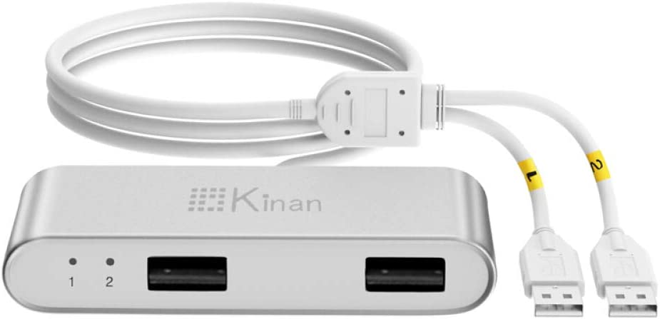 Kinan 2 Ports USB KM Switch Dual Monitor Auto KM Switches 1 Set of Keyboard Mouse Control 2 Monitors Computers,PCs,Laptops Via Sliding Computer Mouse Save Space Support Wireless Keyboards Mouses